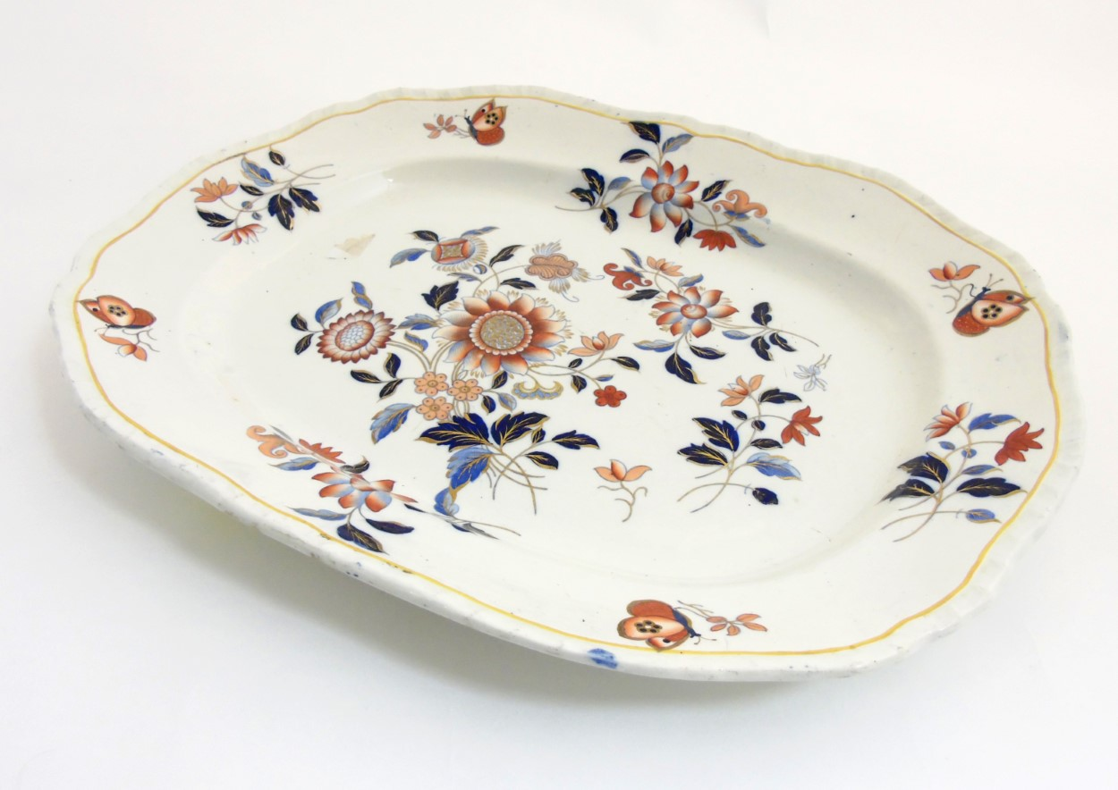 Lot 90 - A large Ashworth (Masons) Real Ironstone China platter, makers mark impressed to base,