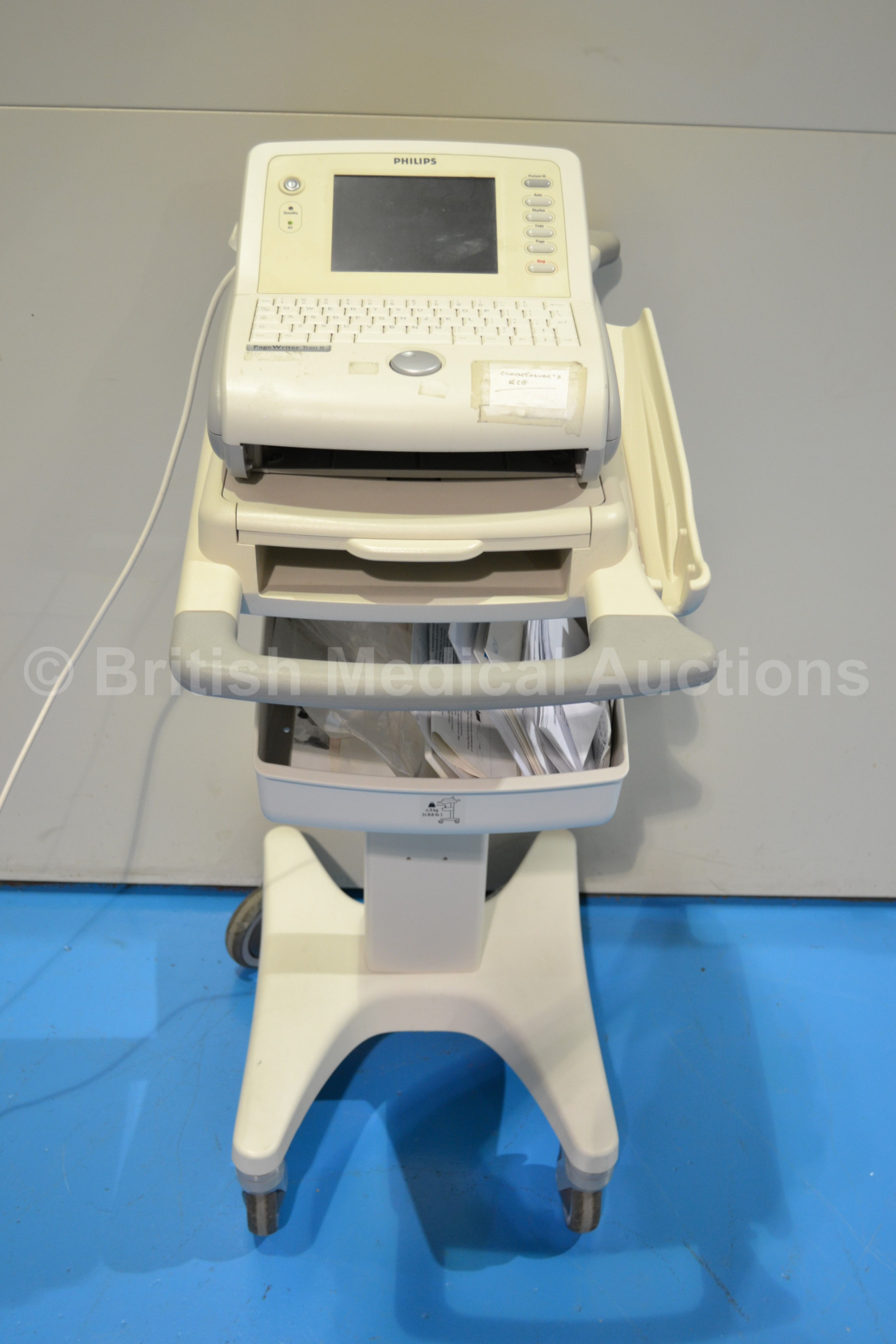 Philips Pagewriter Trim II ECG Machine on Trolley (No Power)