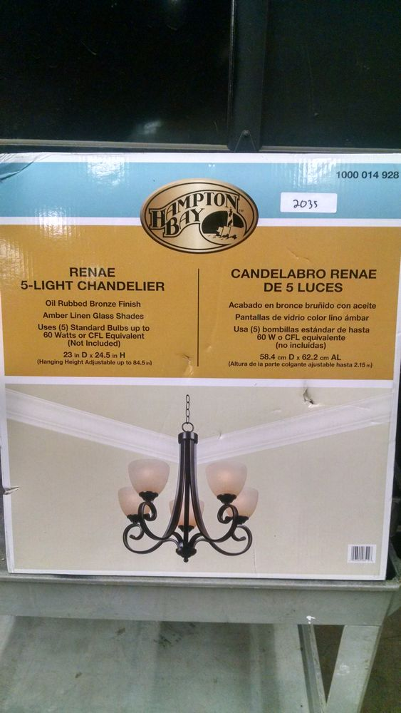 Lot 2035 Hampton Bay Renae 5 Light Oil Rubbed Bronze Chandelier Retail