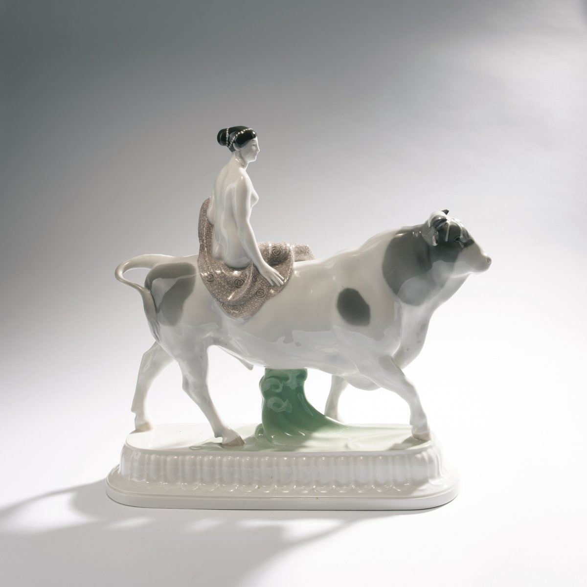 Lot 36 - Adolph Amberg, 'Bride', 1909'Bride', 1909As Europe sitting on the bull. H. 39.3 cm, 45 x 13.7 cm.