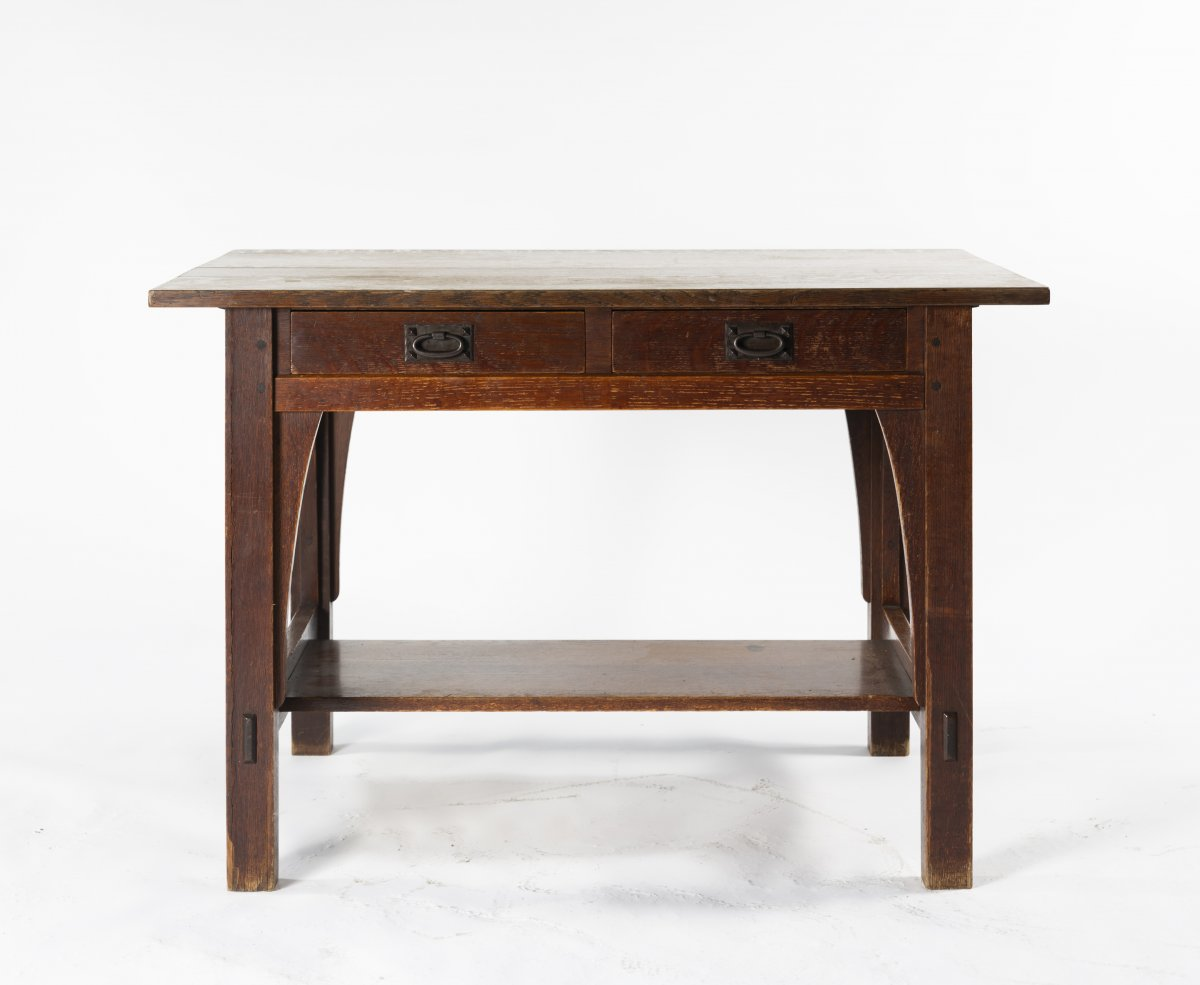 Gustav Stickley, Table, c. 1907Table, c. 1907H. 74 x 107 x 75 cm. Made by Craftsman Workshop, - Image 2 of 3