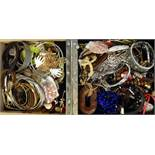 SELECTION OF COSTUME JEWELLERY including pendants, chains, earrings, bracelets and bangles, 1 box