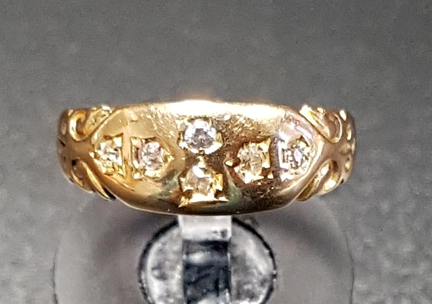 Lot 30 - GYPSY STYLE DIAMOND CLUSTER RING on eighteen carat gold shank, ring size L and approximately 2.4