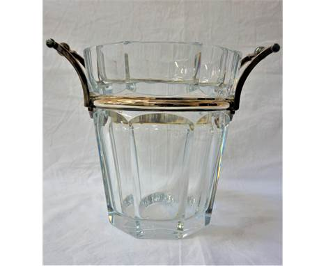 BACCARAT CRYSTAL WINE COOLERwith silvered metal banding and handles, marked to the base, 23cm high
