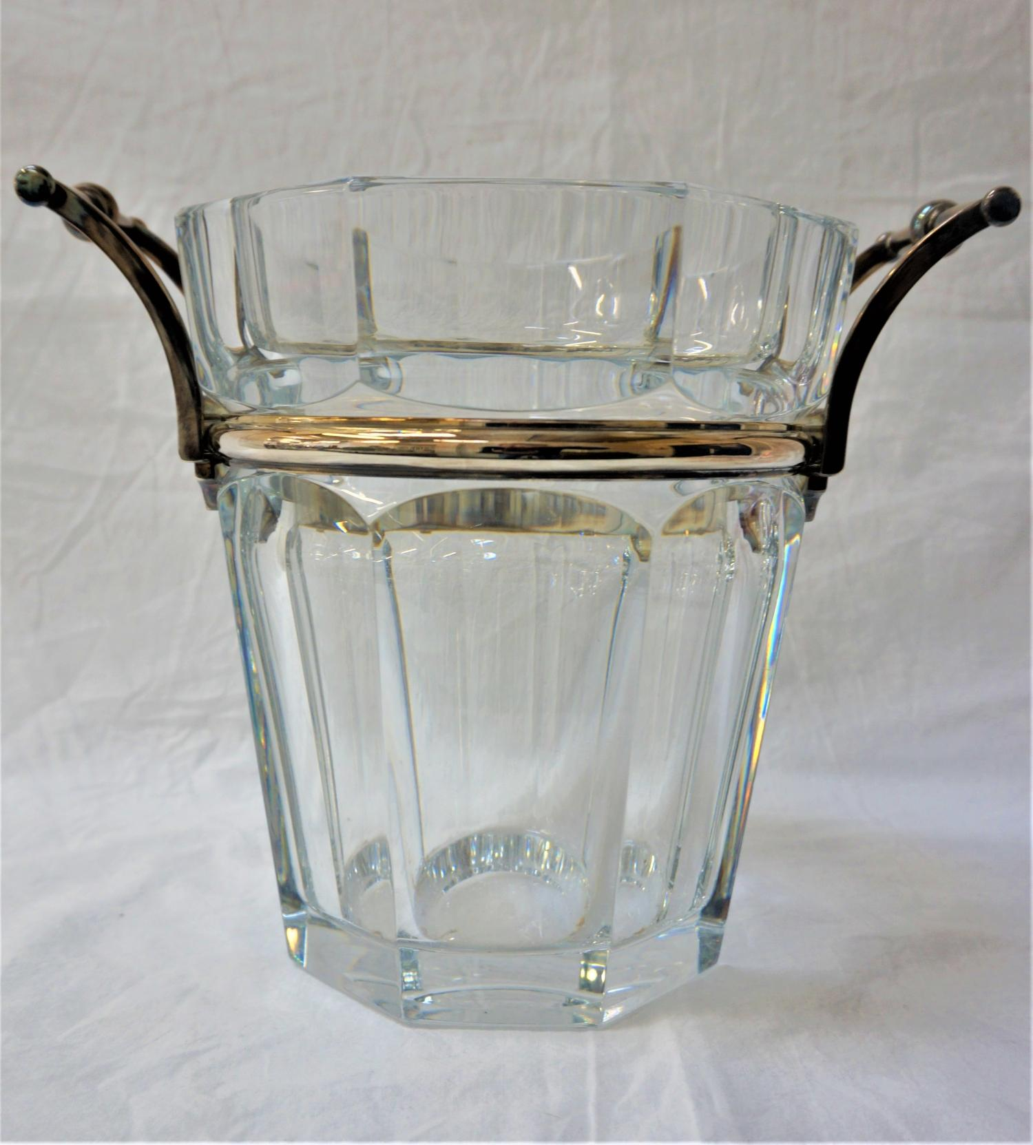 BACCARAT CRYSTAL WINE COOLER with silvered metal banding and handles, marked to the base, 23cm high