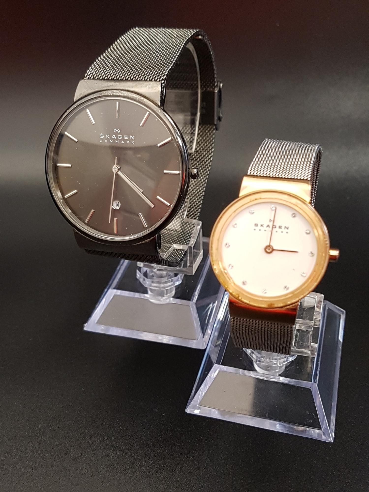 Lot 2 - LADIES AND GENTLEMEN'S SKAGEN WRISTWATCHES the ladies Freja watch with white dial and crystal five