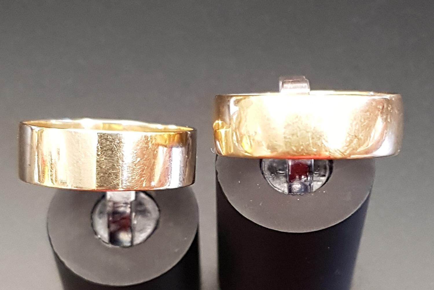 Lot 5 - TWO NINE CARAT GOLD WEDDING BANDS ring sizes T-U and U-V, total weight approximately 5.4 grams