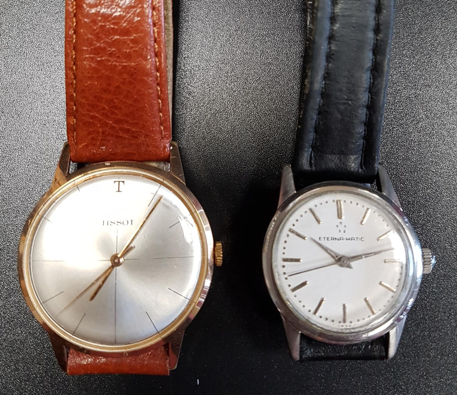 Lot 34 - GENTLEMAN'S ETERNA-MATIC WRISTWATCH the white dial with baton five minute markers; together with a