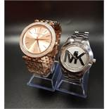 TWO MICHAEL KORS WRISTWATCHES one in rose gold tone, model number MK-3715; the other in silver tone,