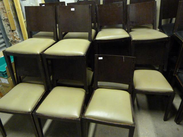 Lot 16 - Twenty Three Darkwood Dining Chairs with Upholster
