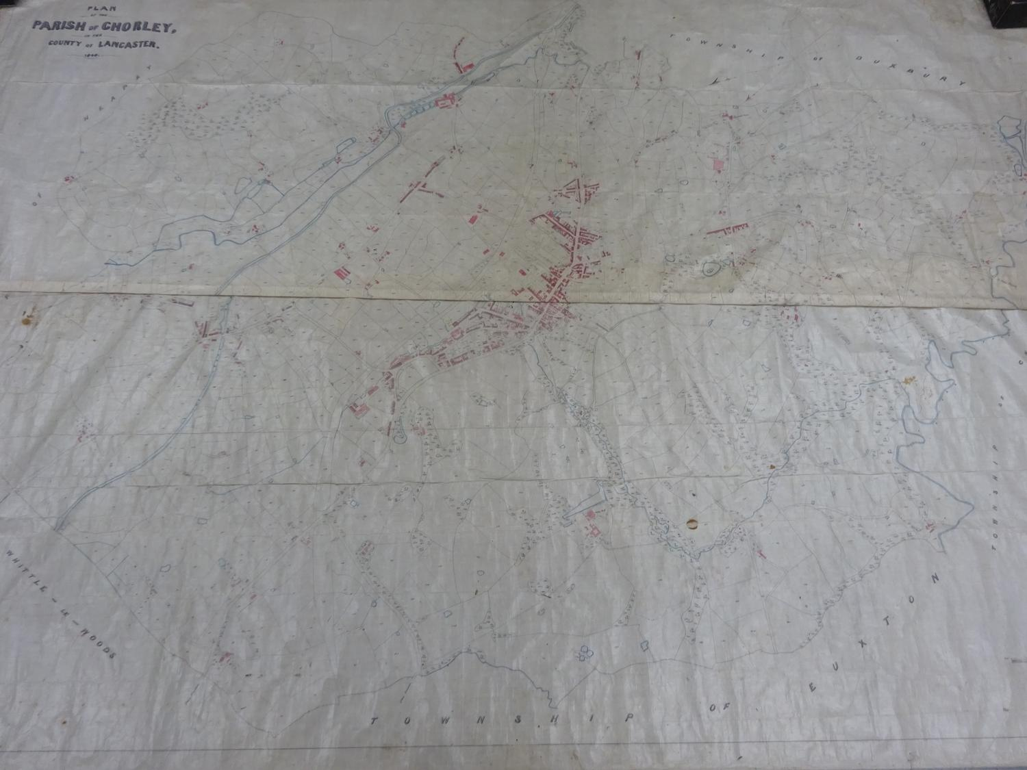 Lot 50 - 1846 hand drawn Tithe map of Chorley, Lancashire and surrounds (see description)