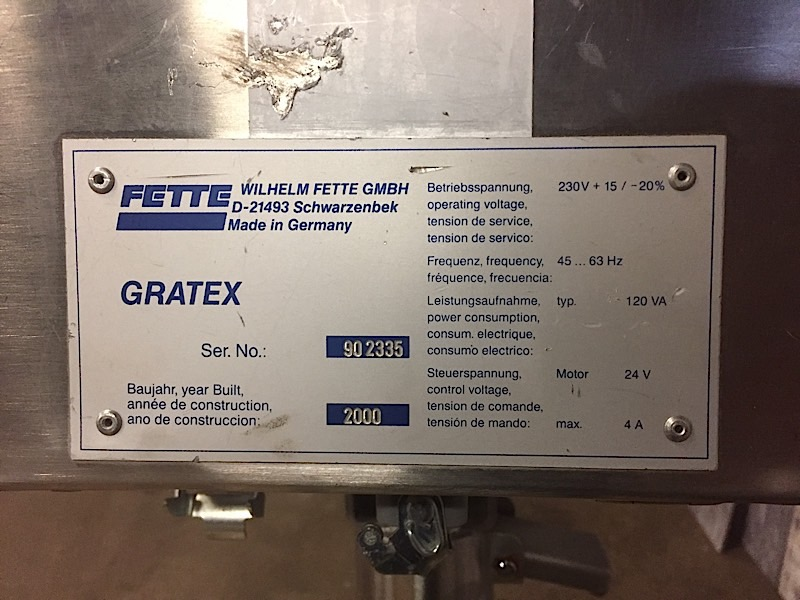 Lot 20 - FETTE GRATEX TABLET DEDUSTER
