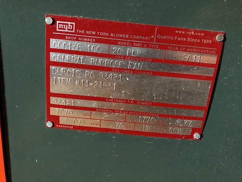 Lot 49 - NEWYORK BLOWER 7079 CFM 460 V BOOTH BLOWER