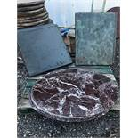 LOT OF MARBLE TABLE TOPS & WOOD TOPS