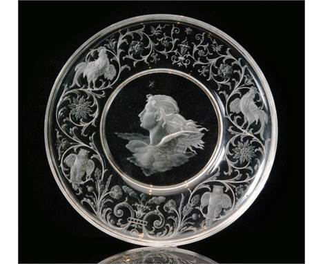 A late 19th Century J & L Lobmeyr crystal glass shallow circular bowl circa 1886 engraved by Franz Ullmann with an image of A