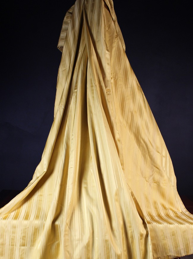 Lot 19 - A Pair of Lined, Yellow Striped Curtains Approx. 97 in (246 cm) drop, 50 in (127 cm) wide.