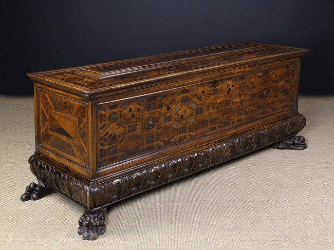 Lot 13 - A Fabulous and Rare 16th/17th Century Italian Parquetry Cassoné.