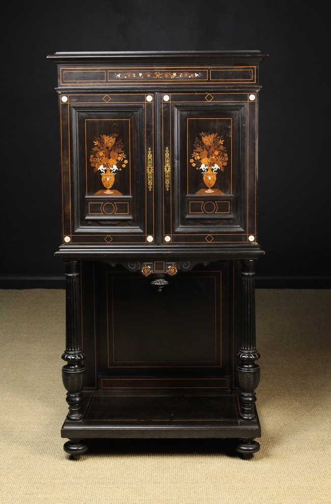 Lot 42 - An Attractive 19th Century Inlaid Ebony Cabinet of fine quality.