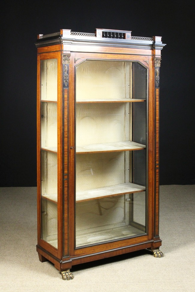 Lot 35 - A Striking Regency Satinwood Vitrine Cabinet with ebonised moulding and brass inlay.