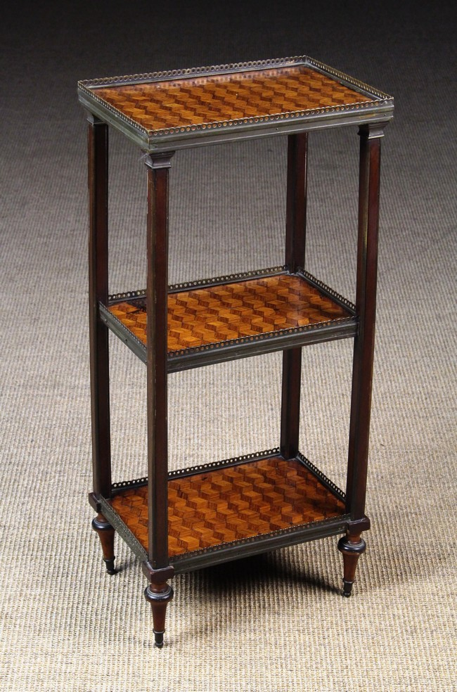 Lot 45 - A Small Late 19th Century Parquetry Kingwood Étagère.