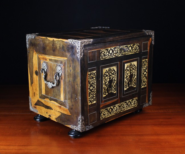 Lot 54 - A 17th Century Italian Inlaid Collectors Cabinet clad in coromandel veneers and embellished with
