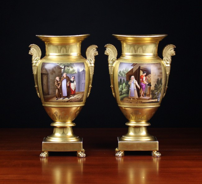 Lot 28 - A Pair of French Empire Royal Palais Hard Paste Porcelain Vases by Darte Frères.