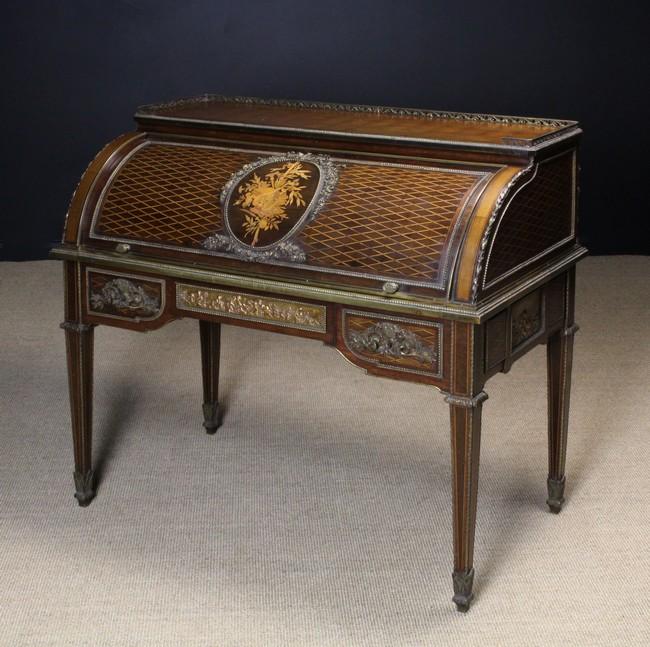 Lot 44 - A Fine 19th Century Marquetry Cylinder-top Bureau,