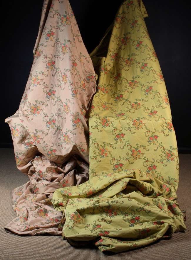 Lot 16 - Two Rolls of Brocade Fabric woven with coral, pale orange,