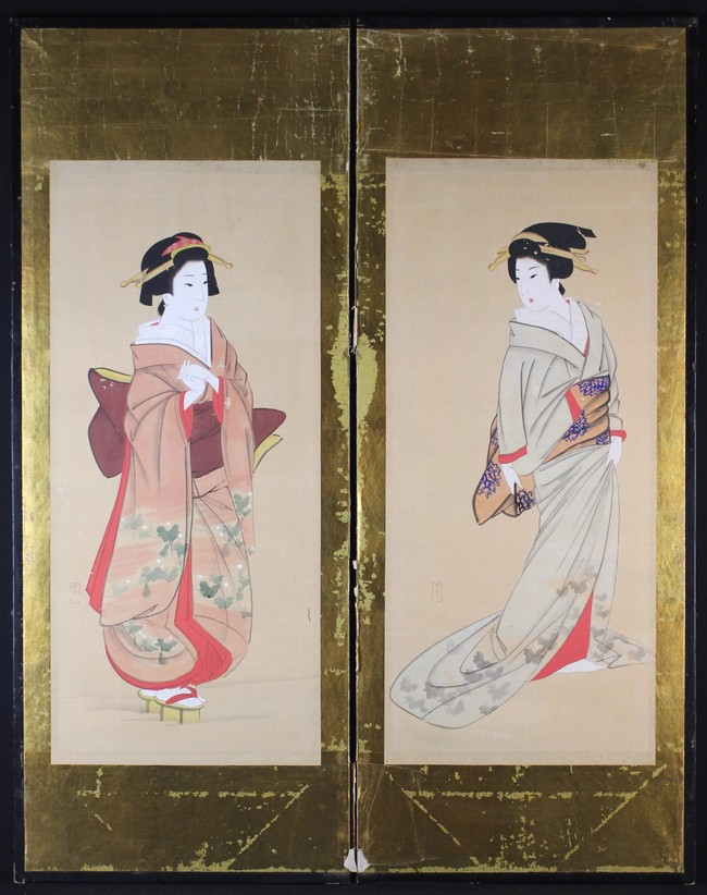 Lot 58 - A Pair of Japanese Screen Panels painted with Geishas and mounted on gold paper within ebonised