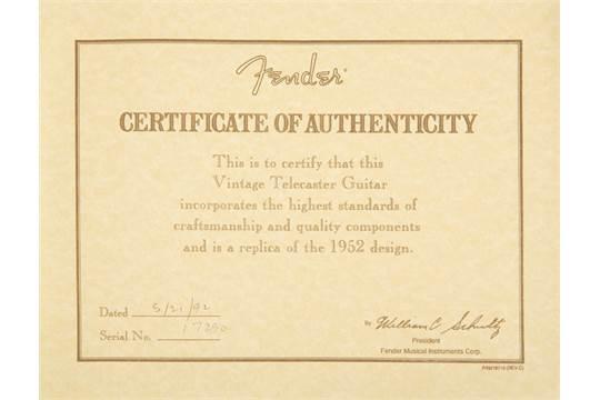 fender american vintage 52 telecaster serial numbers