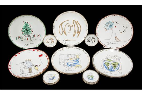 JOHN LENNON DECORATIVE PLATES A group of nine John Lennon decorated 8 1/4 inch ceramic plates ea  sc 1 st  The Saleroom : 4 inch decorative plates - pezcame.com