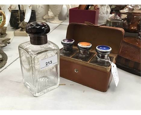 Good Quality Edwardian silver and tortoishell mounter cut glass scent bottle and cased set of scent bottles (2)Condition repo