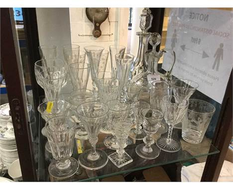 Group of antique glassware to include cut glass decanter and other antique drinking glassesCondition report: The taller decan