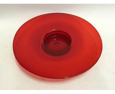Large red art glass circular bowl, 45cm diameter