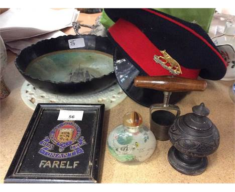 Queen's Own Yeomanry Cap, Snuff bottle, Papier Mache bowl, Chinese hardstone disc and other items.