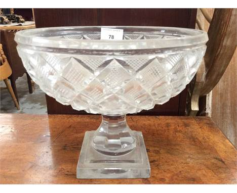 Good quality cut glass bowl on square pedestal footCondition report: 22.3cm in diameter, 19cm in height. Overall scratching t
