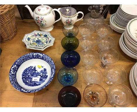 Small collection of ceramics and glassware, including an etched Etruscan style jug, sets of coloured and clear glass Sundae g