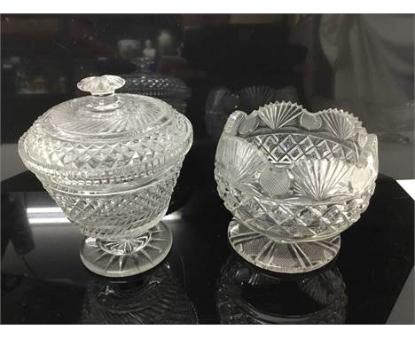 Late 19th century cut glass jar bon bon jar and cover, another example, together with a good quality cut glass pedestal bowl