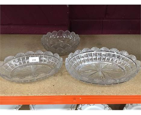 Three Regency cut glass bowls and decorative glassware and ornaments