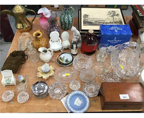 Lot Victorian and later decorative china and glassware, Victorian books, pictures and sundries