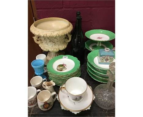 Edwardian dessert service, Royal Crown Derby paperweight and assorted china and glass
