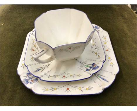 Shelley Trio, cut glass pedestal bowl, other glassware and ceramics