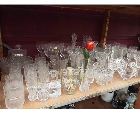 Selection of Crystal plus and other glassware including Stuart and Edinburgh, plus a Waterford Crystal and plated cake slice
