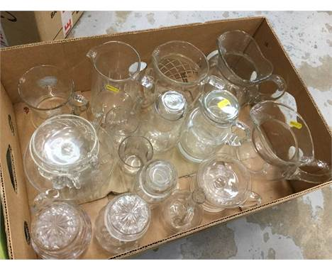 One box of assorted cut glass ware including jugs and dishes (1 box)