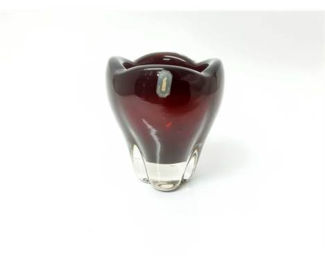 Whitefriars Ruby red molar vase with original label, and a selection of various coloured glassCondition report: Mostly in goo