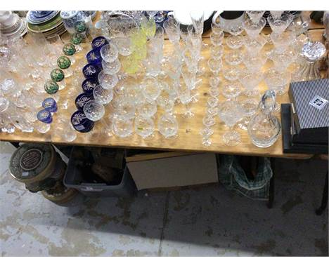Large collection of glassware, including uranium glasses, other coloured glassware, Edinburgh crystal, etcCondition report: G
