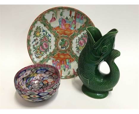 Cantonese famille rose charger, fish gluggle jug and a glass millefiori bowlCondition report: All pieces are in good order wi