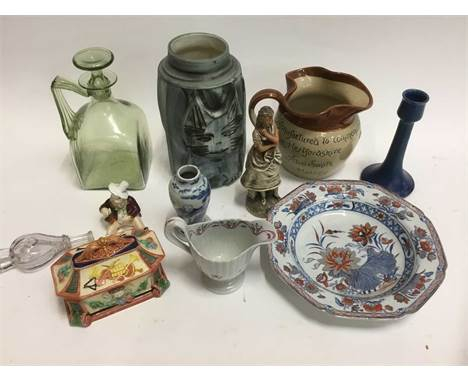 Sundry ceramics and glass, to include 19th century Copeland majolica pot and cover, Newhall cream jug, Royal Lancastrian cand