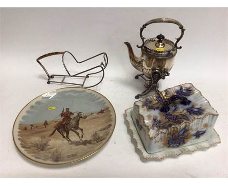 Victorian plated spirit kettle on stand, plated wine bottle holder, a commemorative 'American West' dish and a large Carlton