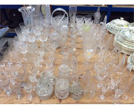 Large collection of assorted cut glassware to include wine glasses and other items (qty)Condition report: Glasses are general